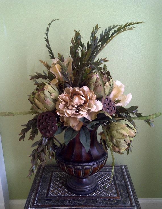 Traditional Neutral Peony Centerpiece Floral Arrangement Home Decor