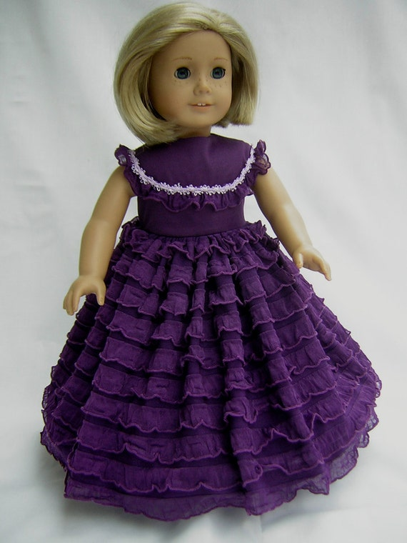 "Purple Civil War Southern Belle Dress for Ameican Girl Dolls, Other 18"" Dolls and Bitty Baby"