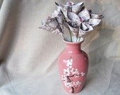 Paper flower arrangement in vintage vase -- taupe and pink origami flowers -- ready to ship