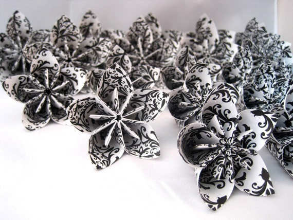 RESERVED LISTING 85 origami paper flowers -- white and black damask