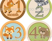 Monthly Baby Boy Milestone Stickers Baby Month Stickers Plus FREE Gift Woodland Forest Animal Shower Gift Newborn Bodysuit Age Stickers