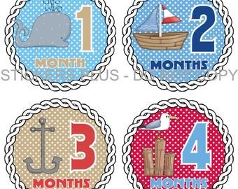 Monthly Baby Boy Stickers Plus FREE Gift PRECUT Milestone Bodysuit Stickers Baby Month Age Sticker Nautical Ocean Whale Anchor Nursery