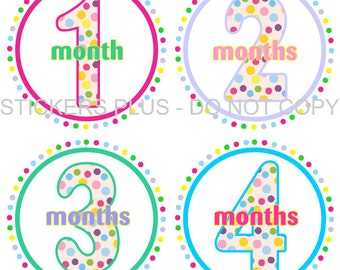 Baby Month Stickers Plus FREE Gift Girl Milestone Circle of Dots Multi Color Shower  PRECUT Baby Stickers Monthly Baby Age Stickers
