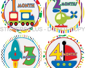 Monthly Baby Boy Milestone Stickers PRECUT Baby Month Stickers Plus FREE Gift Transportation Train Truck Boat Airplane Car All Different