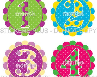 Baby Month Stickers Plus FREE Gift Monthly Baby Girl Milestone Stickers Fun Dots Colorful Baby Shower Gift PRECUT Bodysuit Baby Stickers