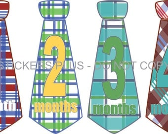 Baby Boy Monthly Tie Stickers Necktie Neck Tie Milestone Stickers Bright Madras Plaid Checks - 1-12 Months  - Gift