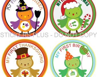 First Birthday Holidays Baby Milestone Stickers Boy or Girl - Owls Christmas 1st Birthday Halloween Easter Thanksgiving and More