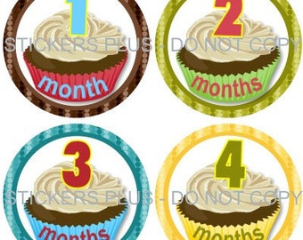 Baby Boy or Girl Neutral Month Milestone Stickers Monthly Baby Stickers Bright Cupcake Numbers 1-12 or 13-24 m Monthly Photo Prop Stickers
