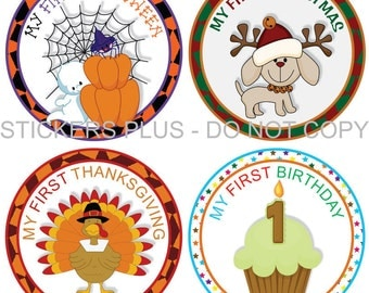 First Birthday Holidays Baby Milestone Stickers Boy or Girl - Christmas 1st Birthday Halloween Easter Thanksgiving and More