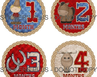 Baby Month Stickers Monthly Baby Stickers Milestone Stickers Baby Bodysuit Stickers Monthly Stickers Plus FREE Gift Boy Cowboy Photo Prop