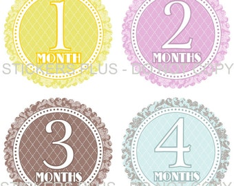 Baby Month Stickers Plus FREE Gift Girl Monthly Milestone Stickers Floral Flower Blossom Damask Dots Yellow Lilac Brown Blue - 1-12 M Shower