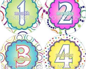 Baby Month Stickers Monthly Baby Stickers Girl Circles and Dots Fun Milestone Stickers PRECUT Bodysuit Stickers Photo Prop Shower Gift