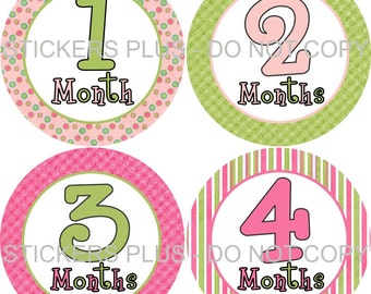 Baby Month Stickers Plus FREE Gift Baby Girl Monthly Milestone Stickers Cute Pink Green Stripes Circles Monthly Baby Photo Prop