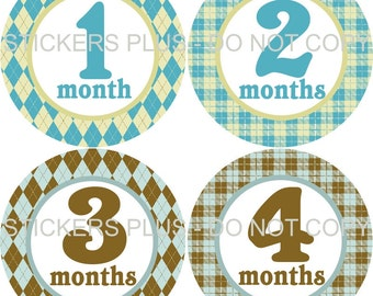 Baby Month Stickers Monthly Baby Stickers Milestone Stickers Bodysuit Stickers Monthly Stickers Plus FREE Gift Boy Blue Brown Yellow Argyle