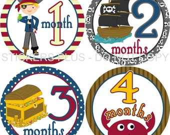 Baby Month Stickers Monthly Baby Stickers Milestone Stickers Baby Bodysuit Monthly Stickers Plus FREE Gift Boy Pirate Ship Treasure Chest