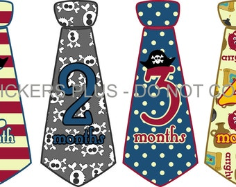 Baby Month Stickers Baby Boy Monthly Neck Tie Necktie Stickers Pirate Skull Bones Stripes Dots Blue Red Gray 1-12 or 13-24 Month
