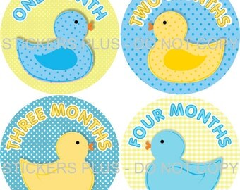 Baby Month Stickers Monthly Baby Milestone Stickers PRECUT Monthly Stickers Plus FREE Gift Boy Rubber Ducks Ducky Duckies Blue Yellow Dot