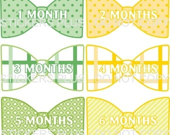 Baby Month Stickers Monthly Bow Tie Shape Sticker Baby Boy Milestone Bodysuit Stickers Green Yellow All Different 1-12 or 13-24 M