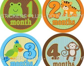 Monthly Baby Boy Milestone Stickers Baby Month Stickers Jungle Animal Animals II Shower Gift Baby PRECUT Bodysuit Stickers Nursery Decor