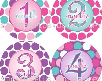 Baby Month Stickers Plus FREE Gift Girl Pink Purple Aqua Big Dots Baby Shower Gift PRECUT Baby Age Stickers Monthly Number Stickers