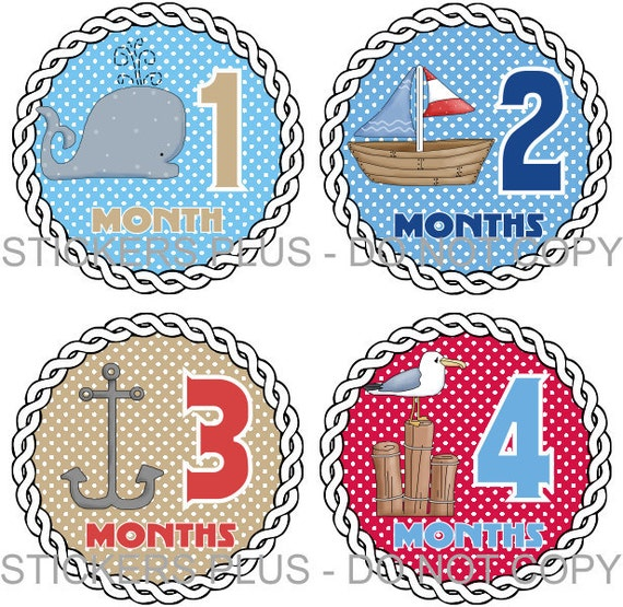 Monthly Baby Boy Stickers Plus FREE Gift PRECUT Milestone Bodysuit Stickers Baby Month Age Sticker Nautical Ocean Whale Anchor Nursery