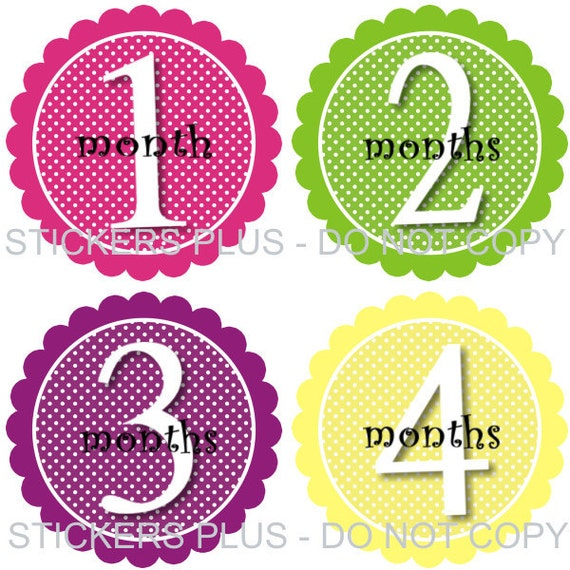 Baby Month Stickers Plus FREE Gift Girl Polka Dots Scallop Frame All Different Colors Photo Prop 1-12 or 13-24 Months Monthly Baby Stickers