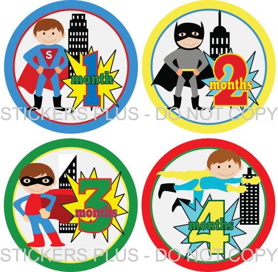 Monthly Baby Boy Milestone Stickers Superhero Super Hero Shower Gift Baby Age Stickers Monthly Newborn Baby Stickers Baby Months Photo Prop
