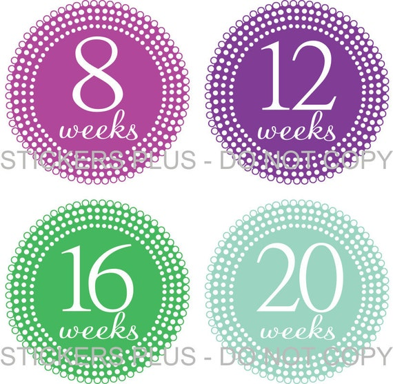 Pregnancy Maternity Baby Bump Belly Photo Prop Stickers - Lots of Dots All Different Colors - New Mom To Be - Nice Gift