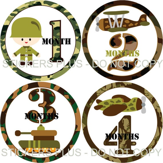 Monthly Baby Milestone Stickers Plus FREE Gift Boy PRECUT Bodysuit Baby Age Stickers Baby Month Stickers Army Military Camo Camoflauge