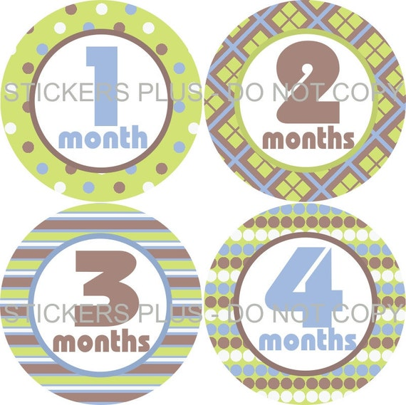 Baby Month Stickers Monthly Baby Milestone Stickers Bodysuit Stickers Monthly Stickers Plus FREE Gift Boy Green Brown Blue Stripes Dots