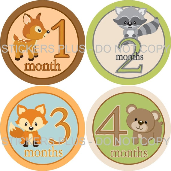 Monthly Baby Boy Milestone Stickers Baby Month Stickers Plus FREE Gift Woodland Forest Animal Shower Gift Newborn Bodysuit Age Stickers