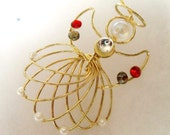 Gold Plated Metal Angel Ornament Embellished w/Swarovski Red and Gold Crystals