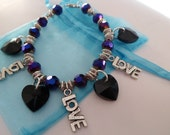 Purple and Black Hearts and Love Charm Bracelet FREE SHIP in US