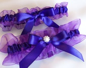 Purple Satin and Organdy Pearl and Rhinstone center.   Deep Purple.  The Center With Pearl or Rhinestone