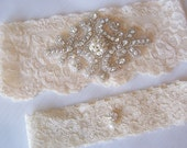 Beautiful Ivory Stretch Lace Wedding Bridal Garter, Gorgeous Pearl and Crystal Cluster on Vintage Inspired Lace.