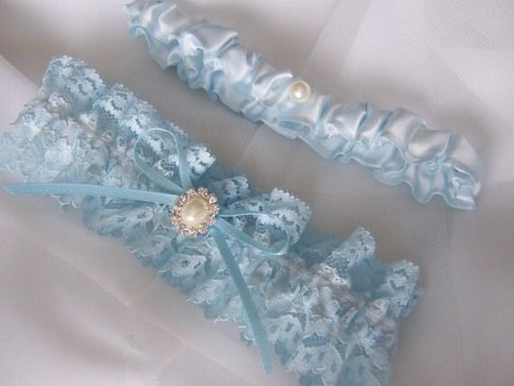 Vintage Chantilly Lace Garter set. Rhinestone Center, Something Blue Very Pretty