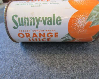Sunny-vale Frozen Concentrated Florida Orange Juice metal Can Vintage 1960s/70s  Advertising kitschy mid century retro graphics