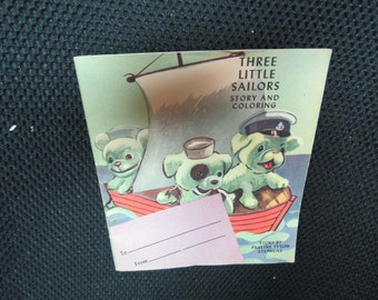 Vintage 1950s Three Little Sailors Greeting Card Story and Coloring book by Pauline Stephens Puppies Dogs kitschy cute ephemera
