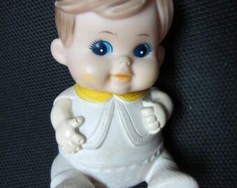Vintage Boy Doll Vinyl Plastic Squeak Toy 1968 Iwai Baby Blue Eyes Kewpie kitschy