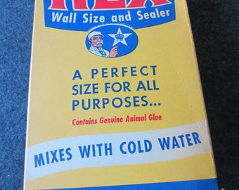 REX vintage WALLPAPER Paste flour Cardboard Box 1950s - Contains Genuine Animal Glue 1lb box advertising