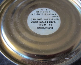 GENERAL ELECTRIC Co Vintage 1950's GE Resistor Method Can Item 12 War Ration Tin Don't Open Until Ready To Use Date Packed Nov 53