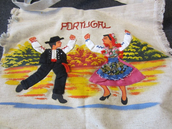 Vintage Handmade Portugal Tote Bag Purse Embroidered hand-painted kitsch travel souvenir