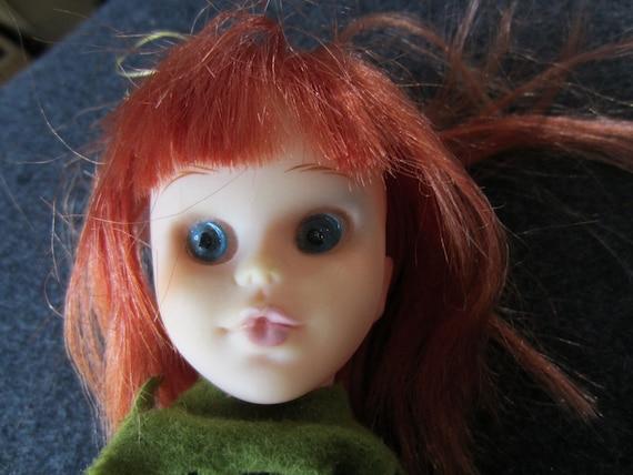 Vintage 1965 Mod Big Eyed Kamar Doll Japan knee-hugger ornament with Red Hair Pre Blythe Keane Big Eyed Kitsch