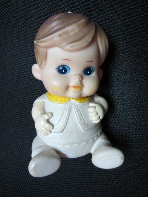 Boy Toys Blue : Items similar to vintage boy doll vinyl plastic squeak toy