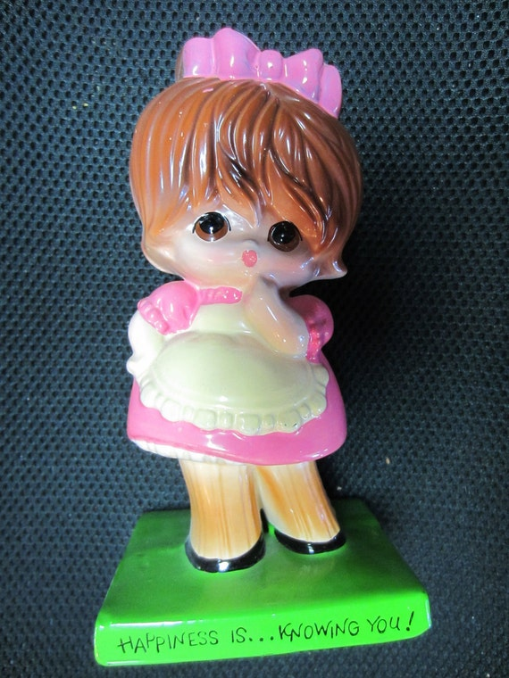 Vintage American Greetings Japan Happiness is Knowing You Big Eyed Girl Figurine kitschy cute novelty gift statue