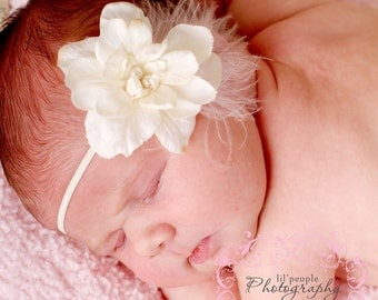 Sweet White Flower with Pale Pink Feather Trim - Perfect Newborn Photography Prop