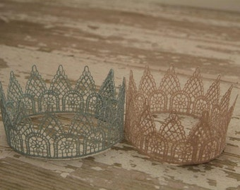Newborn Crown, Sweet Vintage Lace Twin Crown Set, Newborn Photography Prop, Lace Crown, Baby Crown, Twin