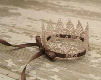 "Newborn Crown, Handpainted Inspired Vintage Lace Crown ""Ballet Slipper Pink"" w/Brown Ribbon, Newborn Photography Prop, Baby Crownn"