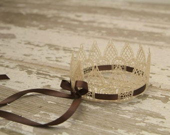 Baby Crown, Sweetest Little Vintage Lace Crown w/Brown Satin Ribbon, Newborn Baby Crown, Perfect Photography Prop, Baby Crown, Lace Crown