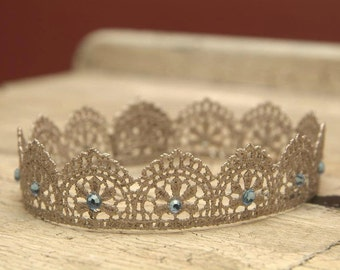Newborn Crown, Handpainted Lace Crown Vintage Gold or Silver w/Blue or Pink Rhinestone Accents, Newborn Photography Prop, Baby Crown